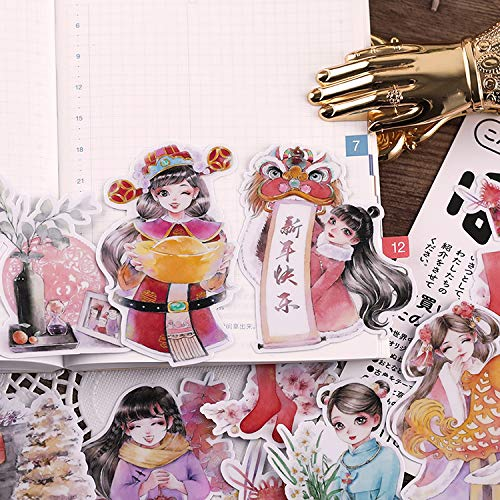ZXXC Japanese Hand Account Sticker Small Fresh And Cute Girl Heart Chinese New Year Hand Account Diy Character Sticker Kiss New Year 20Pcs