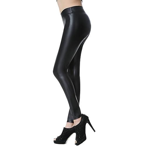 b38a295c0c674 Everbellus Leather Leggings Black Mid-Waist Wet Look Strech Pants