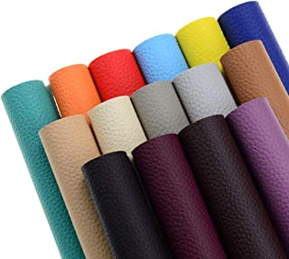 15 Pieces A4 Size 8x12 Inch Solid Color 1.2MM Thickness Litchi Grain Texture Synthetic Faux Leather Fabric Sheets Cotton Back for Making Hair Bows, Earrings, Placemats,15 Color Each Color One Sheet