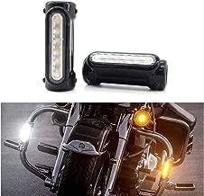 """GUAIMI Motorcycle Highway Bar Lights Transparent Lens Switchback Driving Lights Fits 1-1/4"""" Highway/Crash Bars for Harley Davidson Victory Bikes Black CB-Light-C-BK"""