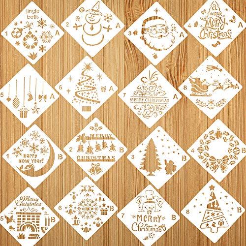 Natale Stencil per Bambini Pittura, 16 Pezzi Stencil di Natale Disegno Verniciatura, Bullet Journal Stencil Riutilizzabili per Decorazione Natalizia Fai-da-Te, Bello Regali Natale Bambini