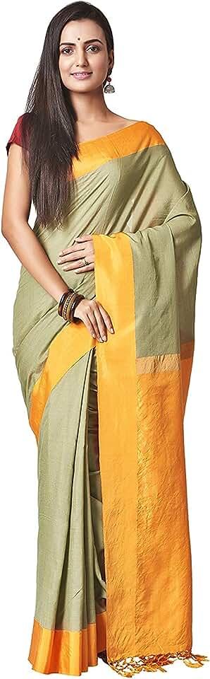 Indian VAIVIDHYAM Designer Sarees Women's Banarasi Cotton Silk Saree With Blouse Piece. Saree