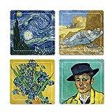 Kit 4 Pezzuole in Microfibra con stampa quadro Van Gogh'Notte stellata - La siesta - Vaso con iris - Ritratto di Armand Roulin'
