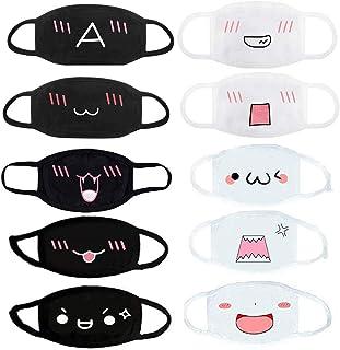 10 PCS Anime Face Mask Emoticon Mouth-Muffle Unisex Kawaii Cartoon Cute Anti-dust Mask, 5 White and 5 Black