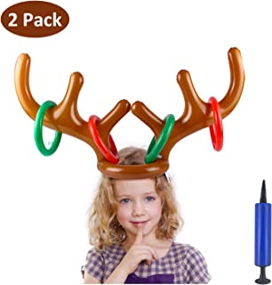 S SUNINESS Christmas Inflatable Reindeer Antler Party Toss Game, 2 Antlers 8 Rings 1 Pumping