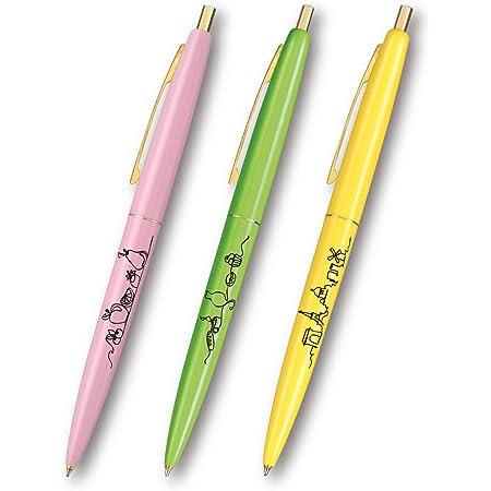 ビック なめらか油性ボールペン クリックゴールド0.5mm ラインアート柄 3本セット フレンチBOX付 CLG05-LA3B