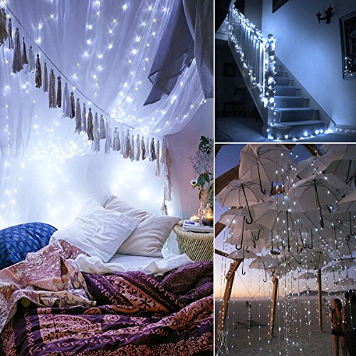 AMIR (Upgraded Version) Solar Powered String Lights, Mini 100 LED Copper Wire Lights, Starry String Lights, Indoor Outdoor Waterproof Solar Decoration Lights for Gardens, Home, Dancing, Party (White)