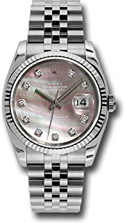 Rolex Oyster Perpetual Datejust 36mm Stainless Steel Case, 18K White Gold Fluted Bezel, Dark Mother of Pearl Dial, Diamond Hour Markers, and Jubilee Bracelet.