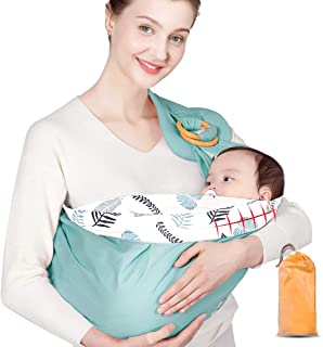 DELFINO Baby Sling, Baby Wrap Carrier, Natural Cotton Baby Sling, Adjustable Breastfeeding Cover Cotton, Suitable for Newb...