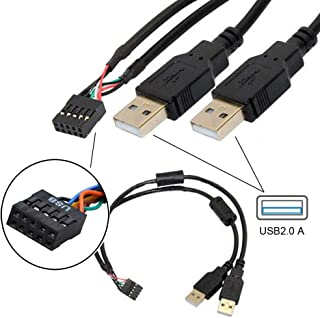 USB 9ピン、マザーボードケーブル 9ピン 2ポート USB 2.0オス ポート デュアル データ転送、USB 2.0パネルマウント型変換ケーブル