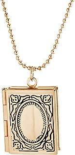 Kebaner Story Bible Book Shape Locket Pendant Necklace for Women
