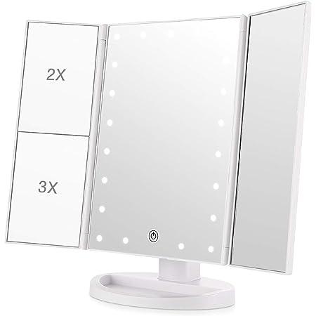 化粧鏡 化粧ミラー 鏡 21個LED三面鏡 女優ミラー 卓上 led付き 折りたたみ 拡大鏡 2&3倍 明るさ調節可能 180°回転 電池&USB 2WAY給電 ホワイト