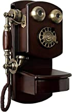 $311 » Tavot Classic Retro Old Fashioned Brown Landline Phones - Wall Mounted Rotary Dial Telephone with Classic Metal Bell Handf...