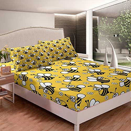 Juego de sábanas de abeja con estampado floral de abeja para niños y niñas, juego de cama de miel de dibujos animados de abeja para dormitorio, colección de 2 piezas de tamaño individual