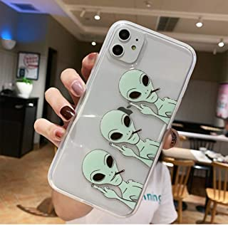 iPhone 11 Case, JICUIKE Funny Green Cool Alien Pattern Print Soft TPU Silicone Protective Skin Ultra Slim Clear Cute Design Gift Bumper Back Cover for iPhone 11 Edition 6.1 inch [Middle Finger Aliens]