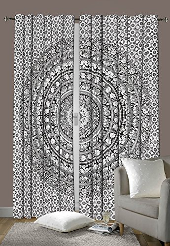 Schlafzimmer-Gardinen, Design: Indisches Elefanten-Mandala, Fenstervorhang, Bohemian-Stil, Dekorationsset, ca. 203,2x 198,1 cm