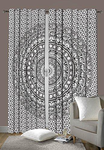 Schlafzimmer-Gardinen, Design: Indisches Elefanten-Mandala, Fenstervorhang, Bohemian-Stil, Dekorationsset, ca....