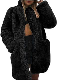 BALABA◕。 Winter Warm Turn-Down Collar Fleece Cardigan for Women with Pockets, Faux Fur Cardigan Open Front Coat