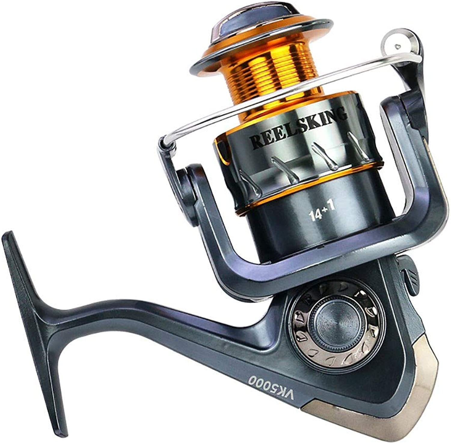 Metal Saltwater Baitcasting Reel,Speed Ratio 5.5 1 Aluminum Alloy Wire Cup Smooth Fishing Reels Left Right Interchangeable Rocker Arm Saltwater Light and Smooth Spinning Reels