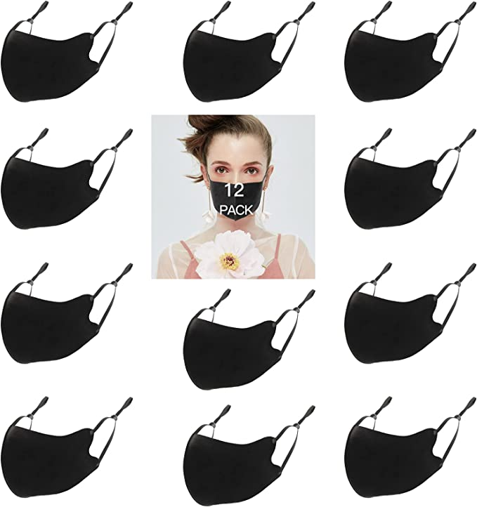 Black Mask Reusable Face Masks Washable Cotton Cloth Breathable Face Mask for Women Men (12 Pack) Thin Comfortable Adjustable Ear Loops Adult Face Mask For Girls Boys Youth Teen 3d Dust Proof