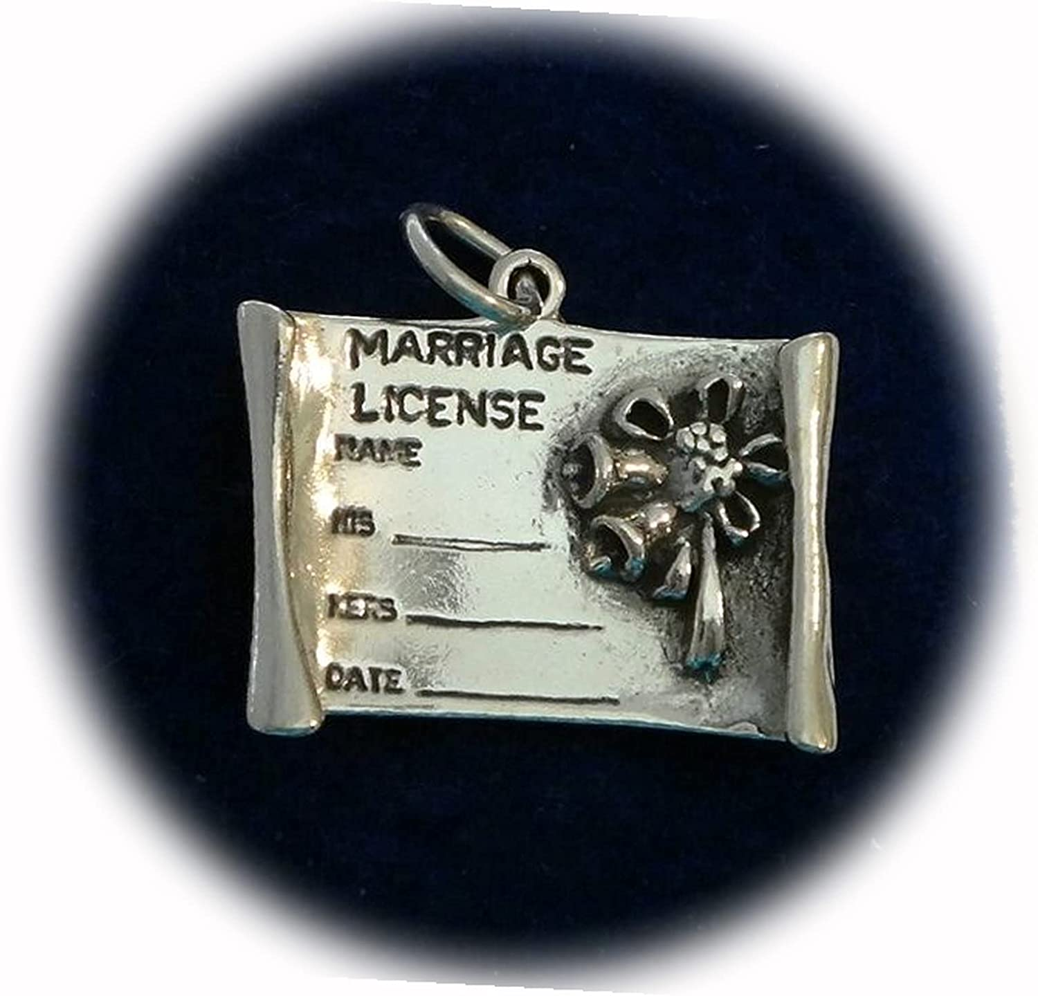 New Sterling Silver 3D 20x23mm License Marriage Cha Max 56% OFF 5-6g Wedding Dallas Mall