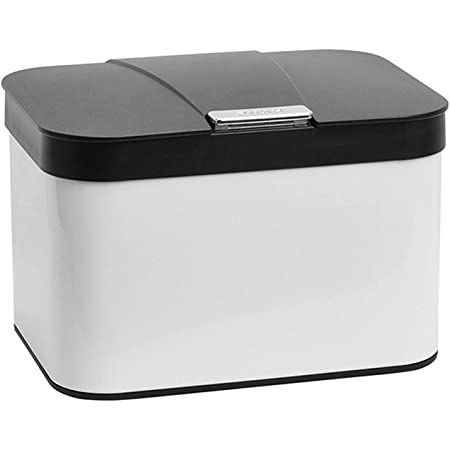 Compost Bin for Kitchen Countertop, Dullrout Compost Bucket Indoor Kitchen Sealed, Food Waste Caddy, 1.13 Gallon Kitchen Compost Container with Lid, Compact and Easy Clean, White Black