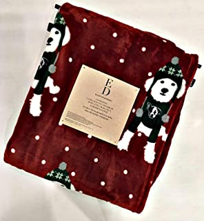 Ellen Degeneres Christmas Ultra Soft Plush Holiday Throw Blanket Featuring Cute Dogs in Sweaters