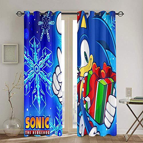 Sonic the Hedgehog - Cortinas aisladas para ventanas (132 x 160 cm)