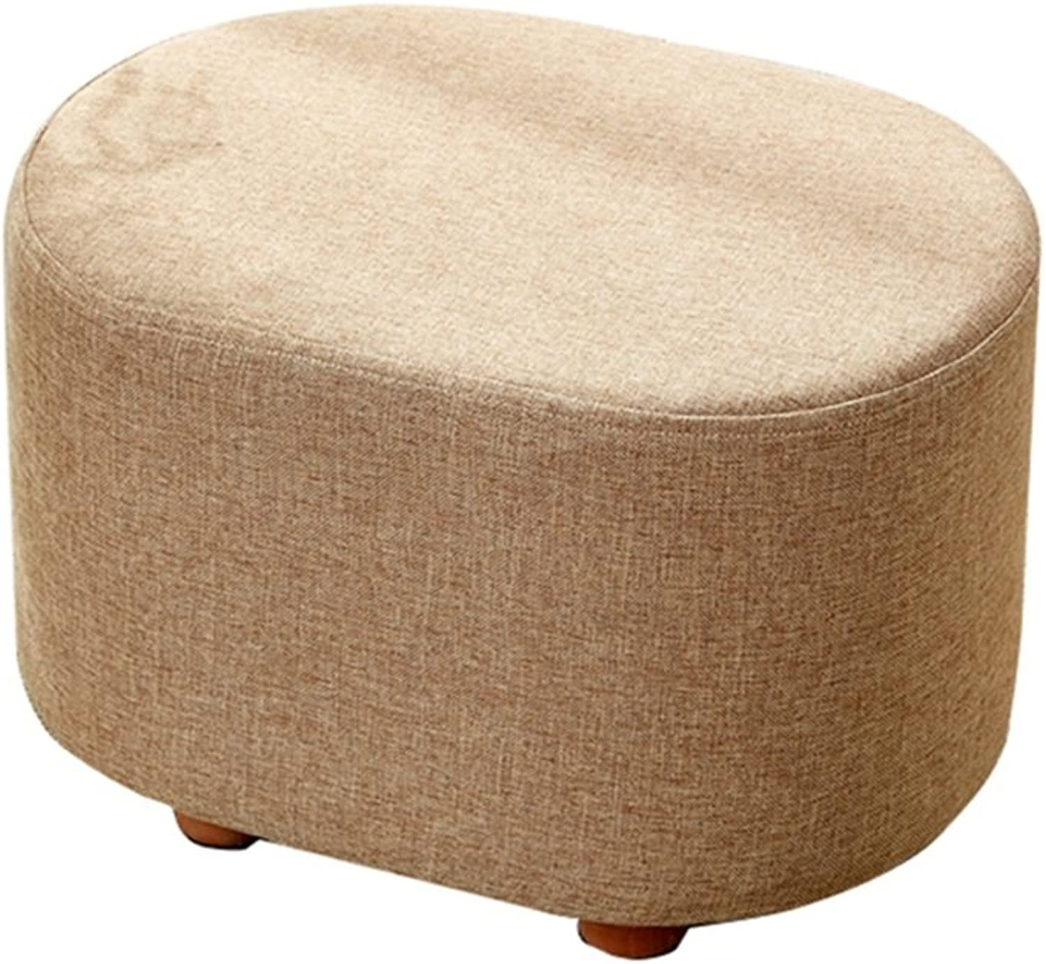HQCC Solid Wood Fabric Footstool Change shoes Stool Sofa Stool