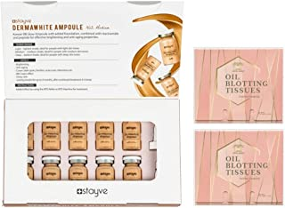 Stayve Dermawhite BB Glow Ampoule No.2 Medium 8 ml x 10 vials Bundle with 2 Packs of Herblandia Oil Absorbing Blotting Paper