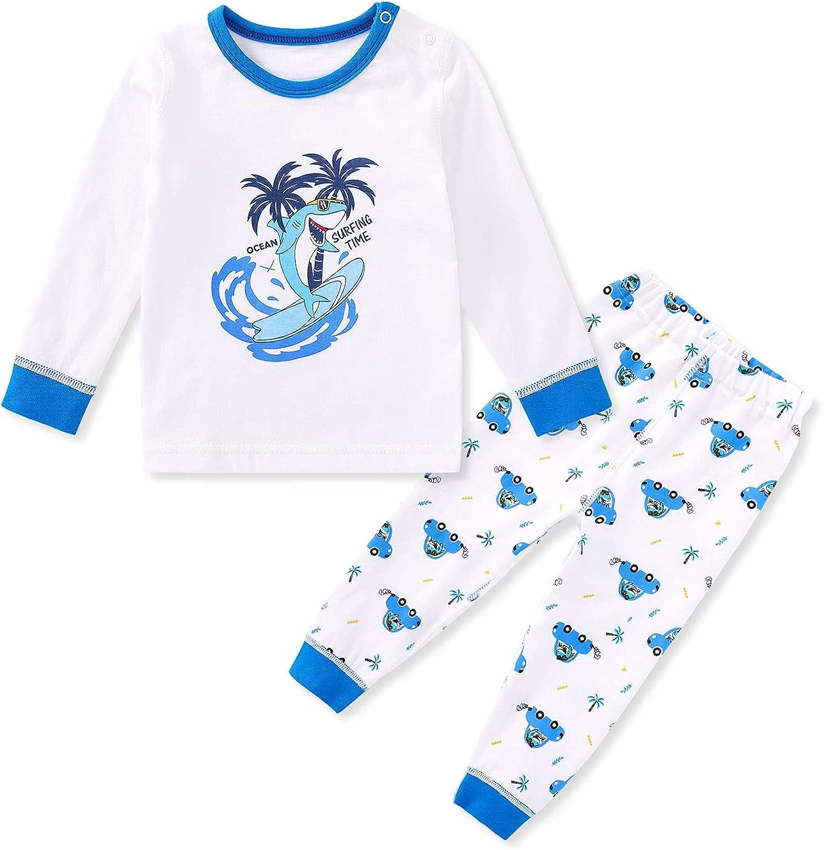 pureborn Baby Toddler Boys Girls Pajamas Set Long Sleeve Cotton Sleepwear
