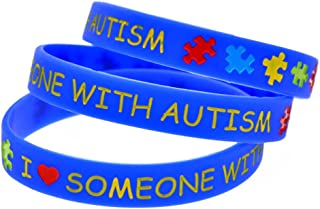 I Love Someone With Autism Awareness Silicone Bracelet Wristband (Blue)
