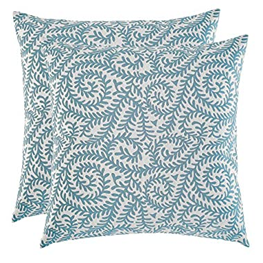 Set of 2, Artcest Decorative Cotton Blend Jacquard Bed Throw Pillow Case, Sofa Durable Paisley Pattern, Comfortable Couch Cushion Cover (Peacock Blue, 18 X 18 Inches)