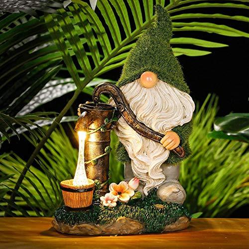 Beiwei Adornos de jardín al aire libre, 29 cm figura de gnomo flocado luces solares estatuas de jardín al aire libre, resina impermeable para decoraciones de césped y regalo