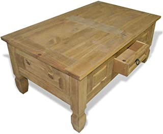 Vintage Classic Style Luxury Coffee Table Mexican Pine Corona Range Drawer End Couch Sofa Side Home Decor