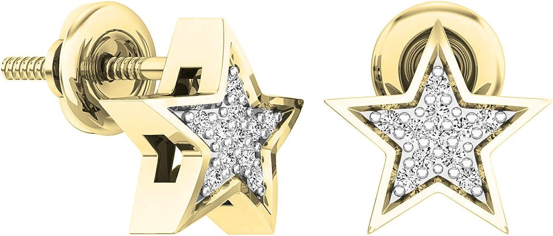 Dazzlingrock Collection 0.07 Carat (ctw) 14K Gold Round White Diamond Ladies Star Shape Stud Earrings
