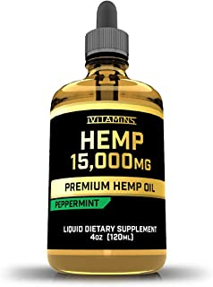 iVitamins Hemp Oil Drops for Pain & Anxiety : 15,000mg 4oz : May Help with Stress, Inflammation, Pain, Sleep, Anxiety, Depression and More : Hemp Seed Extract : Rich in Omega 3,6,9 (Peppermint)