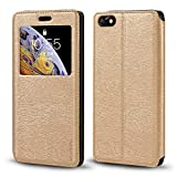 Huawei Honor 4X Case, Wood Grain Leather Case with Card