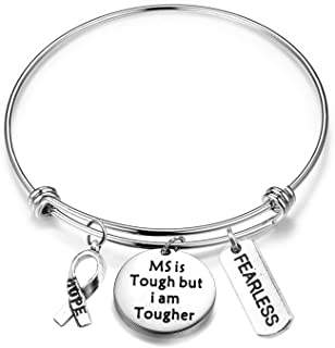 MAOFAED Multiple Sclerosis MS Awareness Gift MS Survivor Gift MS Fighter Gift MS is Tough But I am Tougher Inspiration MS ...
