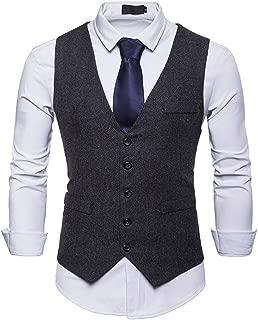 Koolsants Mens Waistcoat, Men's Single-Breasted Tweed Suit Vest Classic Dress Waistcoat