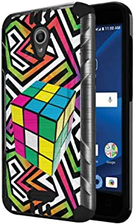 Capsule Case Compatible with Alcatel IdealXcite, Alcatel Verso, Alcatel CameoX, Alcatel Raven LTE [Dual Layer Slim Defender Armor Combat Case Dark Metal Gray] - (Rubiks Cube)