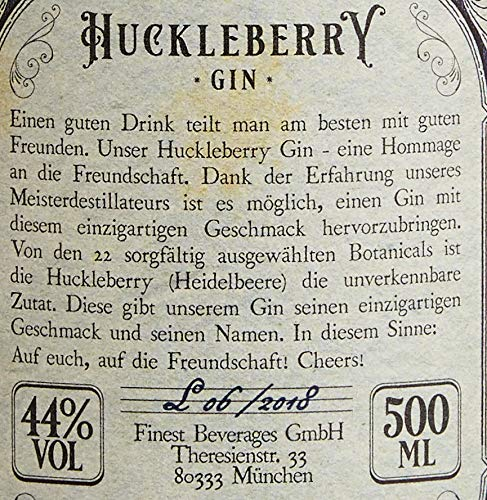 Huckleberry Gin 44% vol (1 x 0.5 l) - Pure Friendship and Blueberries - 4