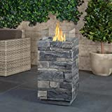 Real Flame Ledgestone Square Fire Pit Column in Gray