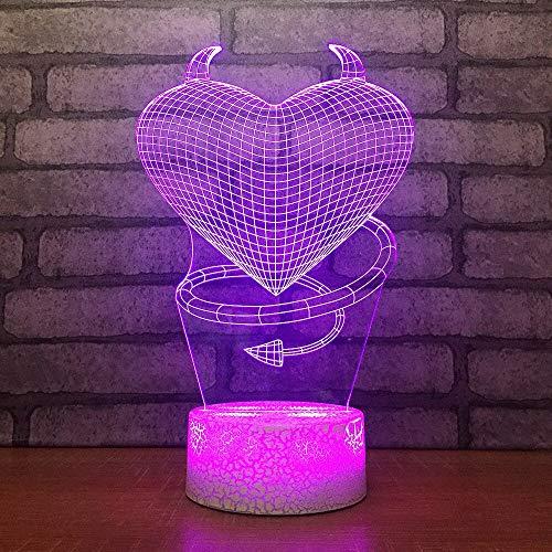 Decoración del hogar Atmósfera Lámpara de escritorio 3D Corazón Persona malvada Modelado 7 colores Led Lámpara de cabecera para niño Regalos de vacaciones Luz nocturna Control remoto