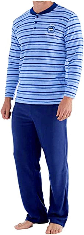 Yowein Men's Pajama Set - Polar Stripe Pajama Pants with Thermal Lightweight Long Sleeves Loose Fit Soft Sleep Top Pants