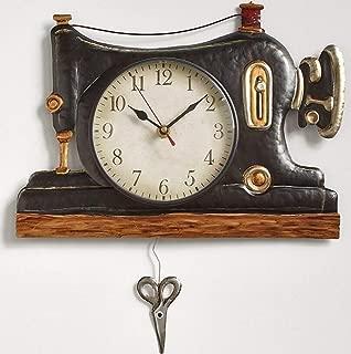 Briskly41 Retro Metal Pendulum Wall Clock Sewing Machine Decorative Esthetic