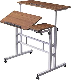 HOSEOKA Height Adjustable Rolling Desk Mobile Stand Up Desk with Wheels, Home Office Computer Workstation Desk, Table Lapt...