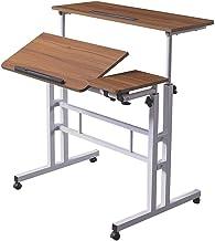 HOSEOKA Mobile Stand Up Desk, Adjustable Laptop Desk with Wheels Rolling Table Home Office Workstation, Laptop Cart for St...