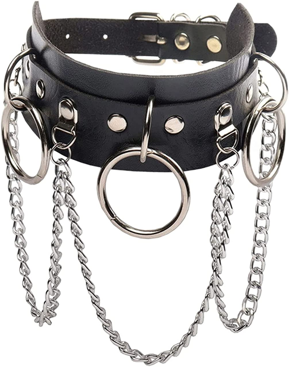 Olbye Circle Leather Choker Necklace Black Studded Rock Punk Collar Necklace PU Gothic Short Necklace Adjustable Link Necklace Jewelry for Women and Girls