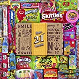 VINTAGE CANDY CO. 21ST BIRTHDAY RETRO CANDY GIFT BOX - 2000 Decade Childhood Nostalgia Candies - Fun Funny Gift Idea - Turning 21 Gag Basket - PERFECT For Man Or Woman Turning TWENTY ONE